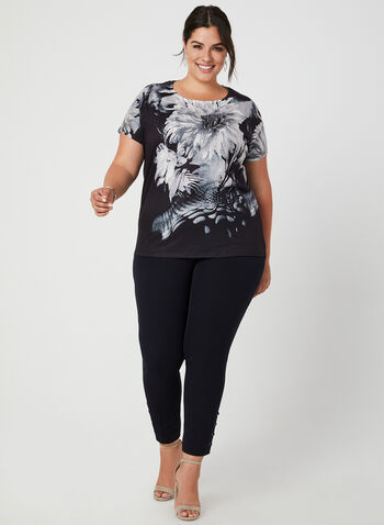 Floral Print T-Shirt, Black,  t-shirt, short sleeves, drop shoulder, floral print, lace, fall 2019, winter 2019