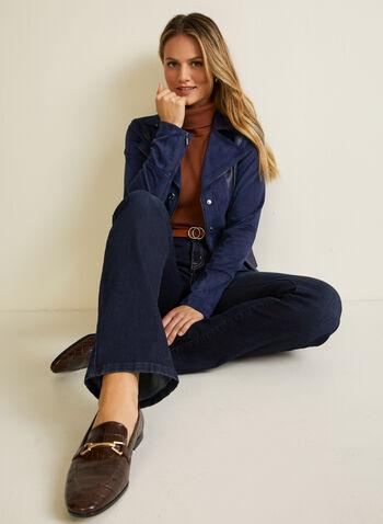 Faux Suede Jacket, Blue,  jacket, faux suede, long sleeves, notch collar, zipper, fall winter 2020