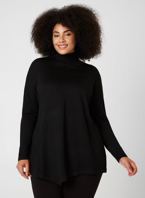Long Sleeve Knit Turtleneck, Black