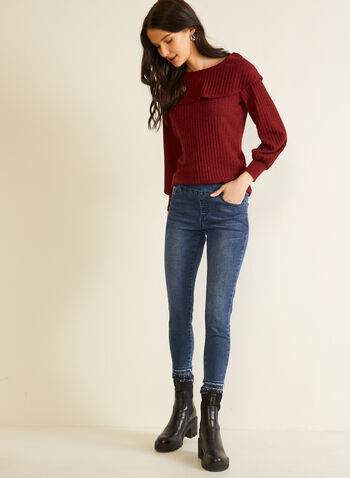 Knit Top With Puffed Sleeves, Red,  fall winter 2020, top, knit, sweater, sweater, puffed sleeves, long sleeves, round neckline, ribbed, made in Canada, flap, ruffles