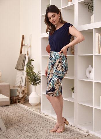 Tropical Print Pull On Skirt, Green,  spring summer 2021, made in Canada, tropical print, palm print, wrap skirt, wrap dress, straight skirt, pencil skirt, tie detail, pull-on, elastic waist, pull on, skirt, flowing skirt, flowy skirt