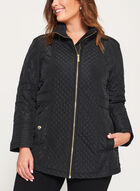 Diamond Quilted Hidden Hood Coat, Black, hi-res