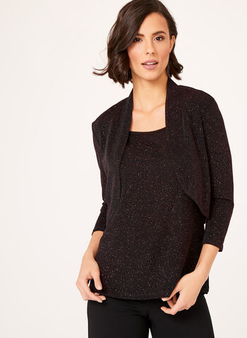 Metallic Crepe Bolero, Black, hi-res