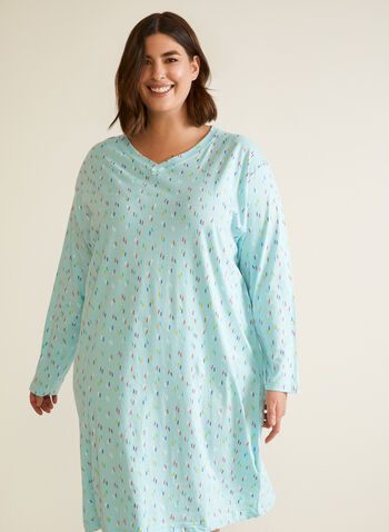 Confetti Print Long Sleeve Nightgown, Blue,  fall winter 2020, pyjamas, nightshirt, nightgown, sleepwear, v neck, stretch, midi length, long sleeve, confetti print