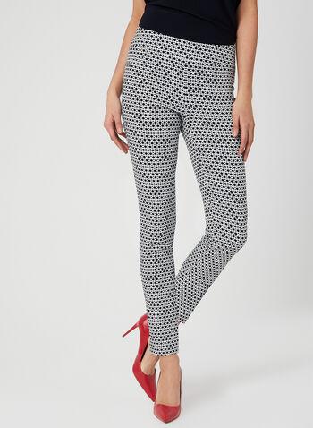 Pantalon motif géométrique à longueur cheville, Bleu, hi-res,  pantalon, pull, on, jambe étroite, motif géométrique, longueur cheville, bengaline