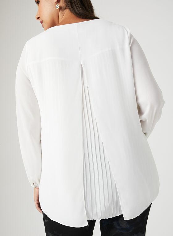 Blouse avec dos plissé et fendu, Blanc cassé, hi-res
