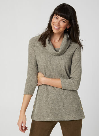 Tunique en tricot côtelé , Blanc,  tunique, col bénitier, manches 3/4, tricot, boutons, automne hiver 2019