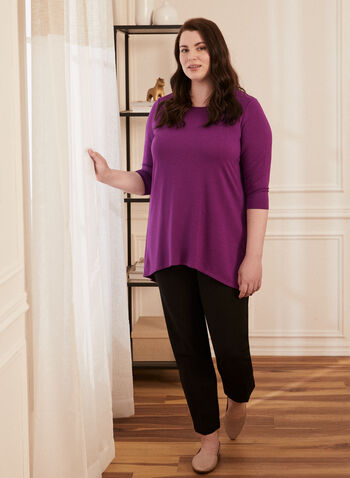 3/4 Sleeve Asymmetric Top , Purple,  Spring Summer 2021, tops, tunic, sweater, knitwear, asymmetrical, boat neck, 3/4 sleeves, french terry