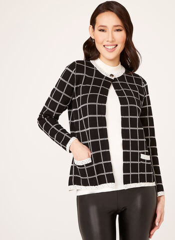 Alison Sheri - Check Print Knit Cardigan , Black, hi-res