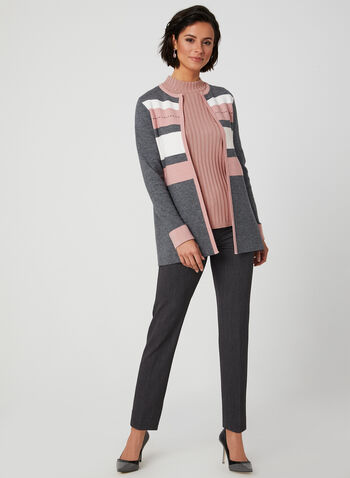 Open Front Colour Block Cardigan, Grey, hi-res,  long sleeves, soft, open front, crew neck, fall 2019, winter 2019