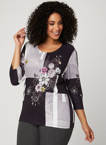 Floral Print Colour Block Top, Black, hi-res