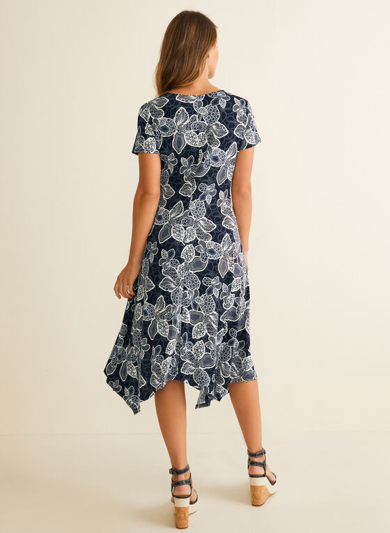 Floral Print Faux Wrap Dress, Blue