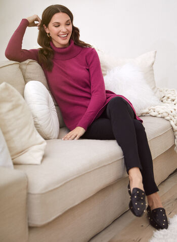Tunique en tricot à col roulé, Violet,  automne hiver 2020, haut, pull, tricot, manches longues, col bénitier, col roulé, tunique