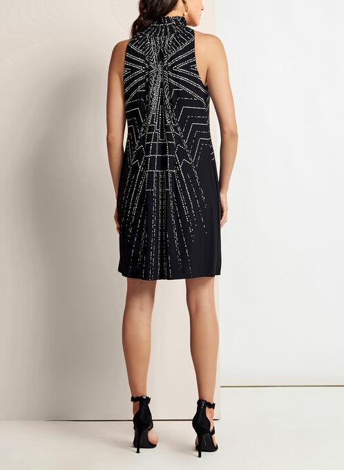 Geometric Print Mock Elastic Neck Dress, Black, hi-res