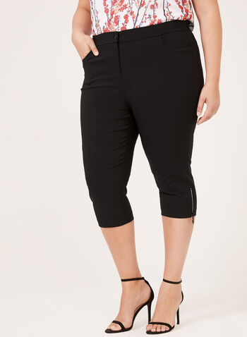 Crystal Zip Detail Capri Pants, Black, hi-res