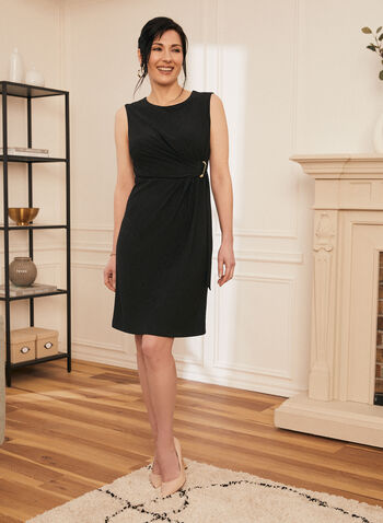 Twist Effect Sleeveless Dress, Black,  dress, cocktail, twist, pleated, sleeveless, round neck, d-ring, spring summer 2021