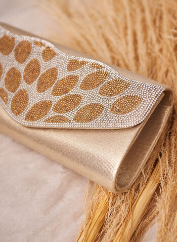 Crystal Pattern Clutch, Gold,  clutch, evening, crystal, flap, spring summer 2021