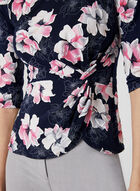 Haut drapé à motif floral, Bleu, hi-res