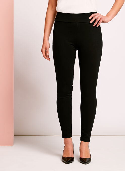 Ponte Slim Leg Leggings, Black, hi-res