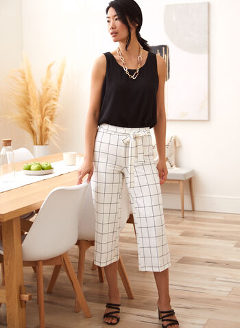 Grid Print Belted Gaucho Pants, White,  spring summer 2021, made in Canada, pants, gaucho, capris, capri, bottoms, belted, pull-on, wide leg, grind print, checkered, checker print, plaid print, square