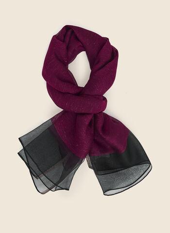 Châle à détails en fibres métallisées, Violet,  foulard, léger, fibres métallisées, mousseline de soie,automne hiver 2020