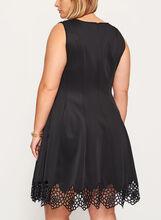 Fit & Flare Dress with Crochet Trim, Black, hi-res