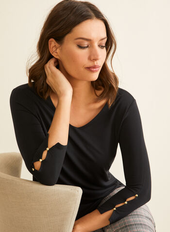 3/4 Sleeve Tulip Hem T-Shirt , Black,  t-shirt, 3/4 sleeves, tulip hemline, button details, rounded v-neck, Spring 2020