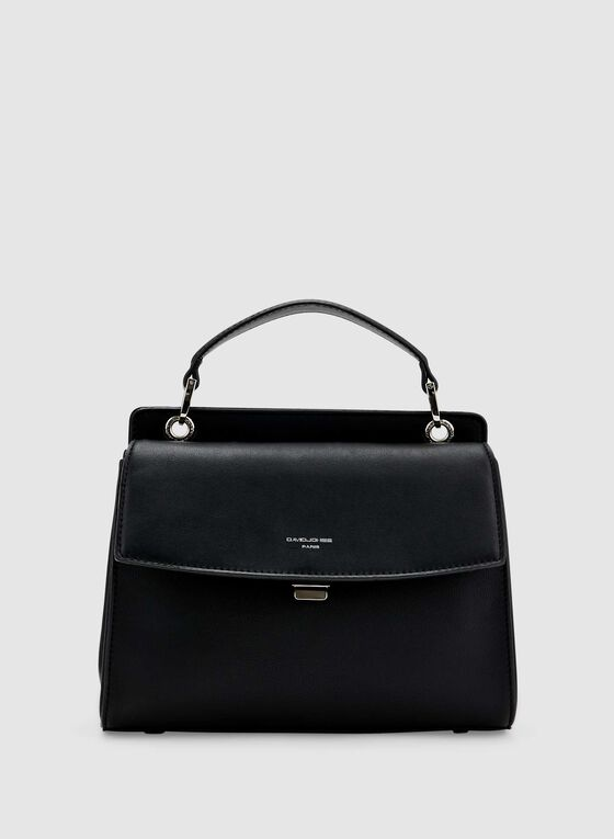 David Jones Paris - Faux Leather Satchel, Black, hi-res