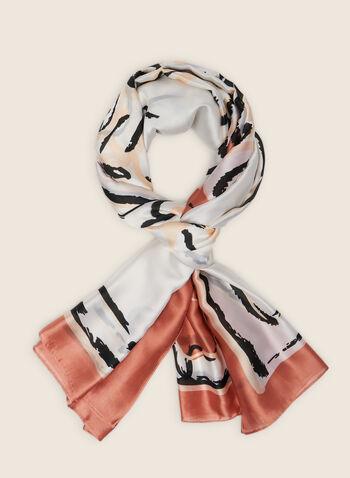 Foulard oblong léger à fleurs, Orange,  foulard, léger, mousseline de soie, fleurs, printemps été 2020