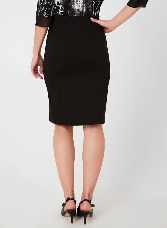 Pearl Trim Pencil Skirt , Black