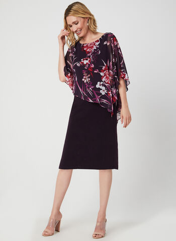 Floral Print Poncho Dress, Purple,  chiffon, jersey, poncho, floral print, scoop neck, short sleeves, fall 2019, winter 2019
