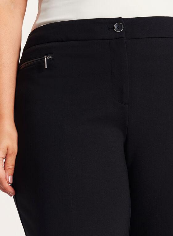 Pantalon coupe cité point de Rome à jambe droite, Noir, hi-res