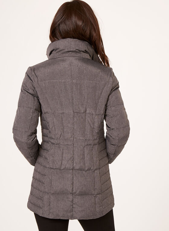 Manteau matelassé avec capuchon amovible en fausse fourrure, Gris, hi-res
