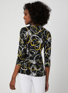 Abstract Print Faux Wrap Top, Black, hi-res