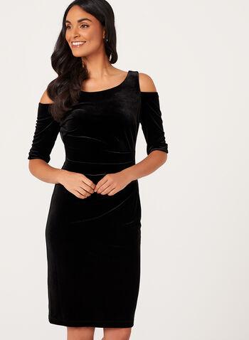 Cold Shoulder Velvet Dress , , hi-res