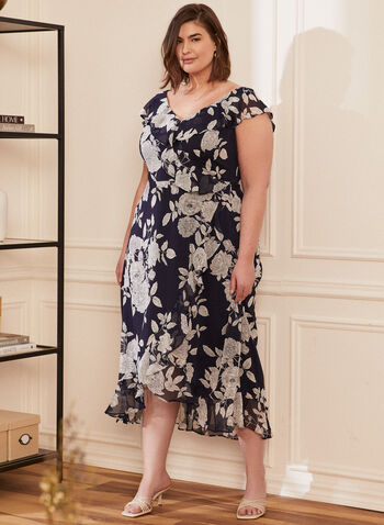 Floral Print Faux Wrap Dress, Blue,  day dress, wrap, floral, chiffon, cap sleeves, tulip hem, v-neck, spring summer 2020
