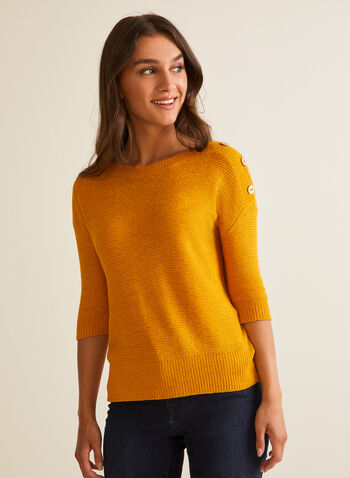 3/4 Sleeve Knit Sweater, Yellow,  spring summer 2020, 3/4 sleeves, tape yarn, knit, lightweight, button details