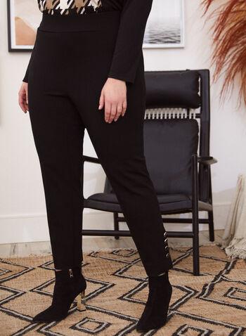 Pantalon à jambe étroite avec boutons , Noir,  pantalon, jambe droite, point de Rome, facile à enfiler, pull-on, automne hiver 2020, boutons