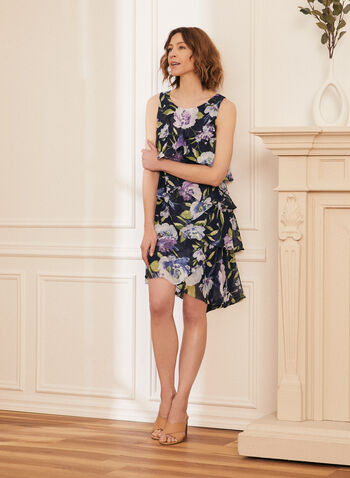 Floral Print Tiered Day Dress, Blue,  dress, day, floral, tiered, sleeveless, scoop neck, chiffon, spring summer 2021