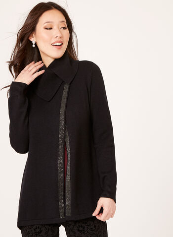 Vex - Rhinestone Trim Knit Cardigan , Black, hi-res
