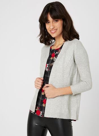 Cardigan en tricot ottoman, Argent, hi-res