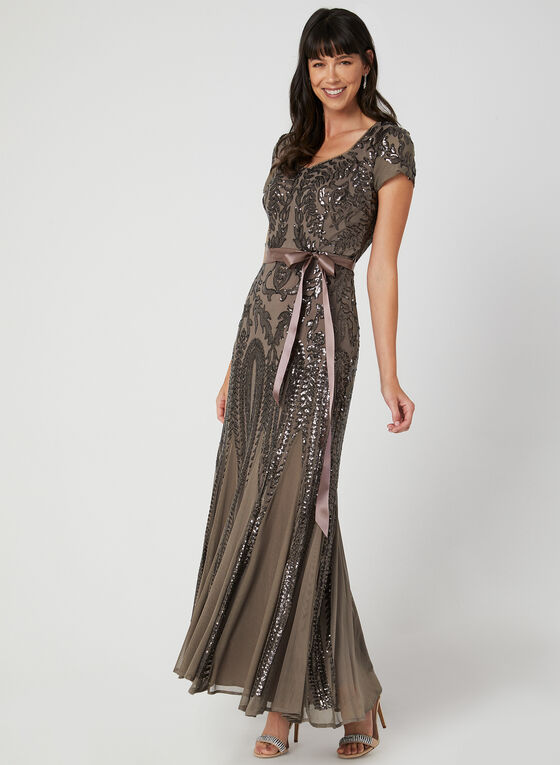 Robe en maille filet et sequins, Brun, hi-res