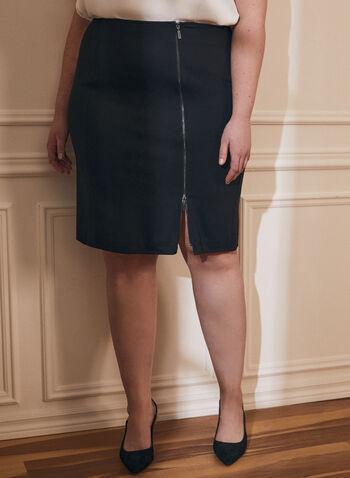 Zipper Detail A-Line Skirt, Black,  fall winter 2020, short, skirt, a-line, a line, side zipper, comfort, stretch, Ponte de Roma, bottoms