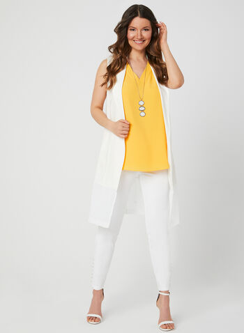 Sleeveless Crepe Top, Yellow,  stretch, stretchy, v-neck, summer 2019