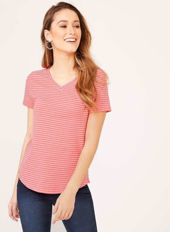 T-shirt à rayures et col V, Orange, hi-res