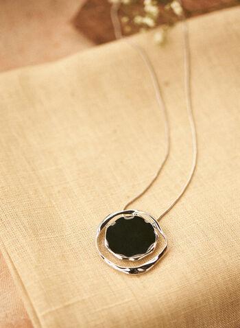 Collier à pendentif rond ajouré, Noir,  automne hiver 2020, collier, accessoire, bijou