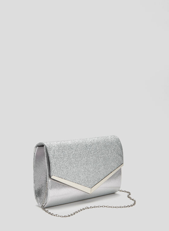 Envelope Glitter Clutch, Silver
