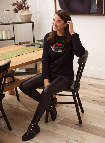 Sequin Detail Text Print Top, Black,  fall 2021, shirt, sweatshirt, top, long sleeves, scoop neck, sequin, text, details, graphic, print, pattern, comfy, stretchy, logo