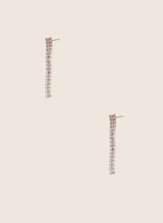 Boucles d'oreilles à baguettes de cristaux, Rose