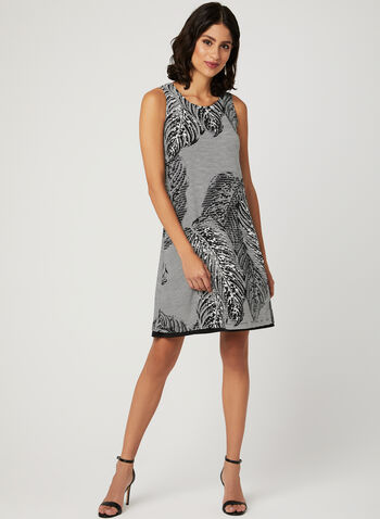 Abstract Leaf Print Dress, Black, hi-res